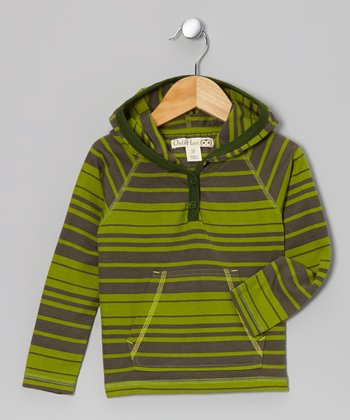 Green & Olive Stripe Hoodie - Toddler & Kids