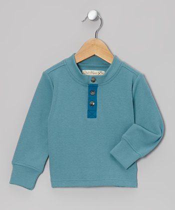 Aqua Henley Sweatshirt - Toddler & Kids