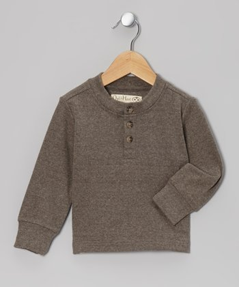 Charcoal Henley Sweatshirt - Toddler & Kids