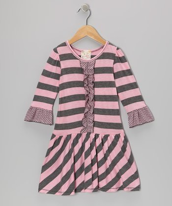 Heather Gray & Pink Stripe Ruffle Dress - Toddler & Girls