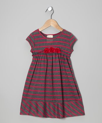 Charcoal & Pink Stripe Rosette Babydoll Dress - Girls