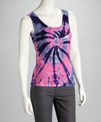 Pink & Purple Cyclone Tie-Dye Tank - Women