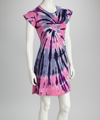 Pink & Purple CycloneTie-Dye Cap-Sleeve Dress - Women