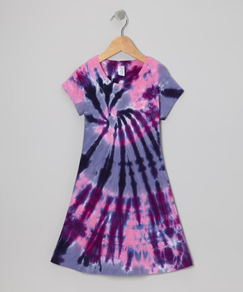 Pink & Purple Cyclone Tie-Dye A-Line Dress - Toddler & Girls