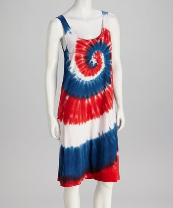 Red & Blue Swirl Sleeveless Dress - Women & Plus