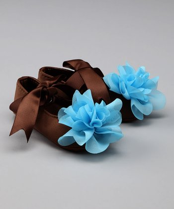 Brown & Blue Flower Booties