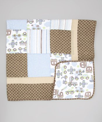 Light Blue & Brown Transportation Quilt