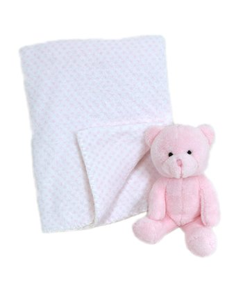 Pink Plush Bear & Stroller Blanket
