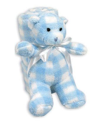Blue Gingham Stroller Blanket & Bear Plush Toy