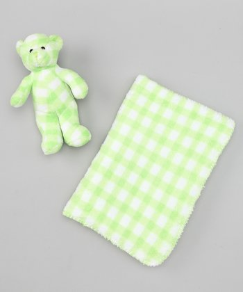 Green Gingham Stroller Blanket & Plush Toy