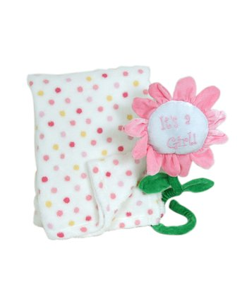 Pink Polka Dot Receiving Blanket & Flower Greeting