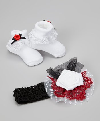 Black & Red Diva Headband & Ruffle Socks