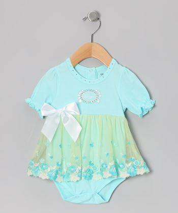 Aqua 'Angel' Skirted Bodysuit