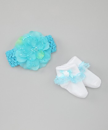 Aqua Headband & Socks