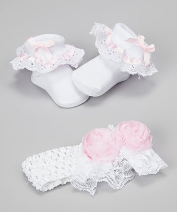 White & Pink Rosette Lace Crocheted Headband & Ruffle Socks