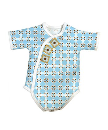 Blue Geometric Wrap Bodysuit
