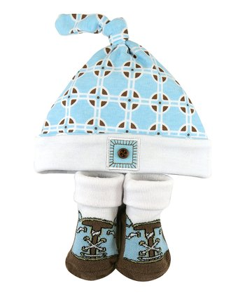 Blue Geometric Single-Knot Beanie & Socks