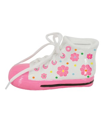 Pink Flower Tennis Shoe Piggy Bank