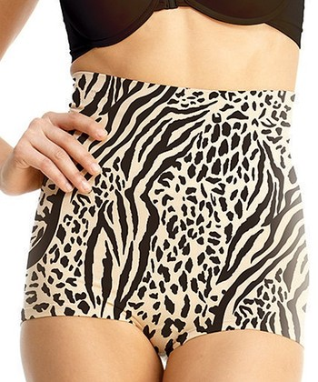 Black & Nude Zebra High-Waisted Shaper Boyshorts - Women
