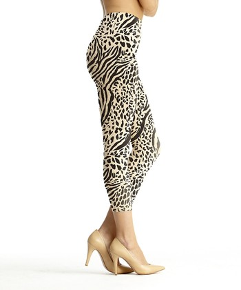 Black & Nude Zebra High-Waisted Shaper Leggings - Women