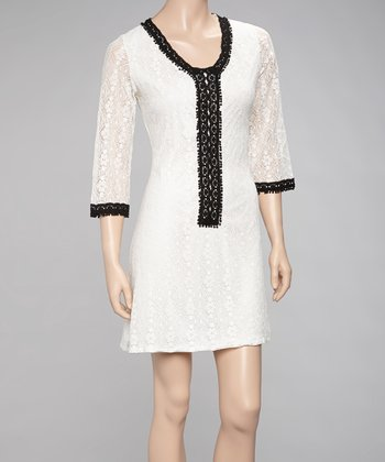 White & Black Lace Dress