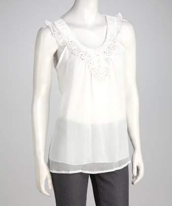 White Embellished Tank