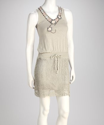 Khaki Crocheted Dress