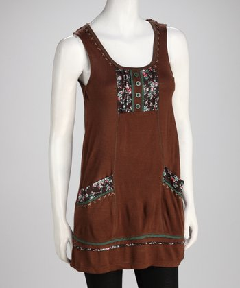Mocha Patchwork Pocket Dress