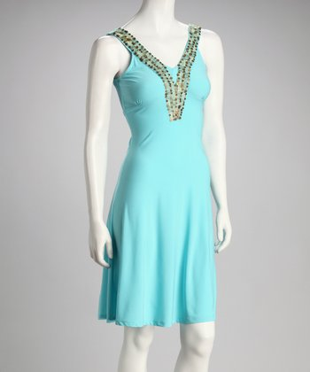 Turquoise Sequin V-Neck Dress