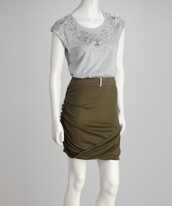 Gray & Olive Two-Tone Dress