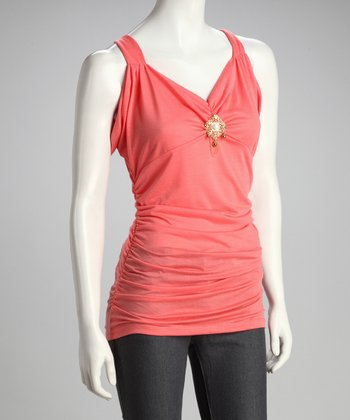 Coral Brooch Ruched Top