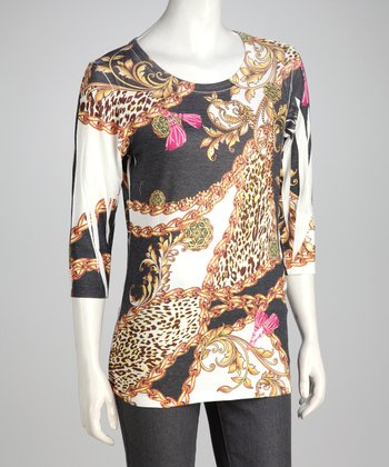 Ivory Floral Safari Tunic