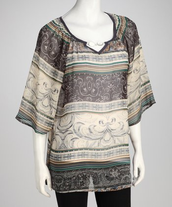 Taupe Abstract StripeTunic