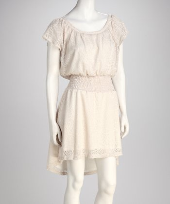 Ivory Smocked Hi-Low Dress