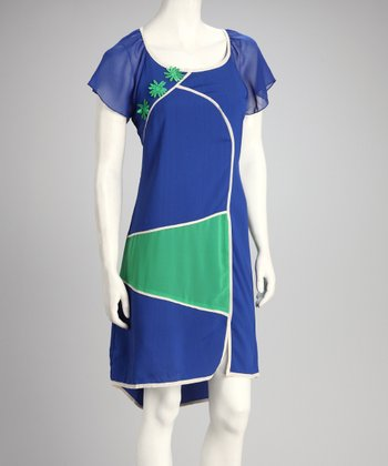 Blue & Green Color Block Dress
