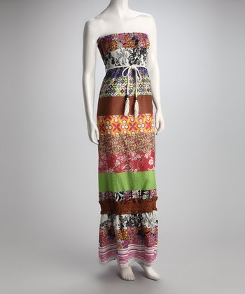Mocha Patchwork Shirred Maxi Dress