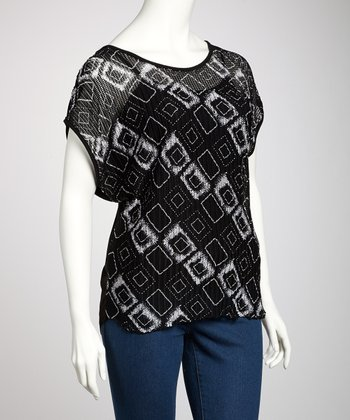 Black & White Square Sheer Plus-Size Top