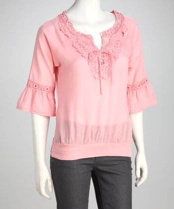 Pink V-Neck Crocheted Top