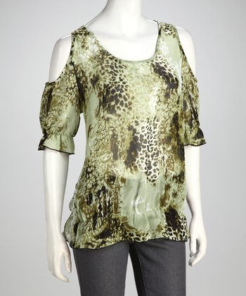 Green Abstract Leopard Chiffon Top