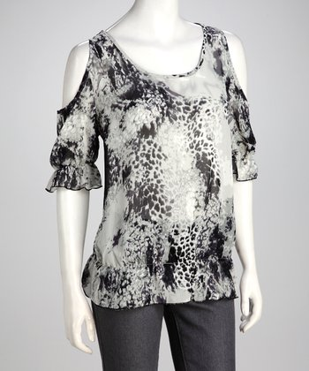Gray Abstract Leopard Chiffon Top