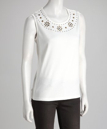 White Studded Sleeveless Top