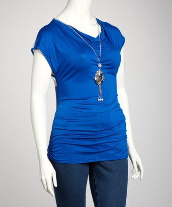 Royal Blue Chain Sheer Plus-Size Drape Top