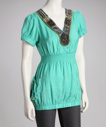 Turquoise Beaded Pocket Top