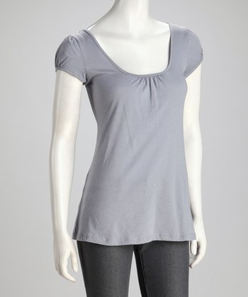Gray Organic Scoop Neck Top
