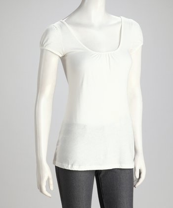 Ivory Organic Cotton Scoop Neck Top