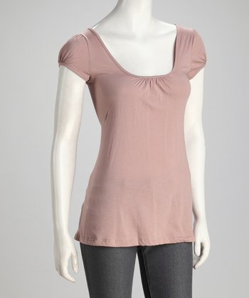 Mauve Organic Scoop Neck Top