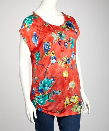 Coral & Blue Sheer Lace Plus-Size Short-Sleeve Top