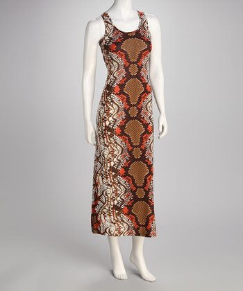 Rust Snakeskin Maxi Dress