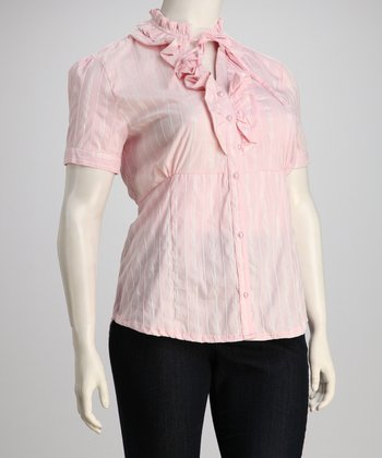 Pink Stripe Ruffle Plus-Size Button-Up Top