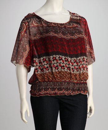 Burgundy Plus-Size Peasant Top